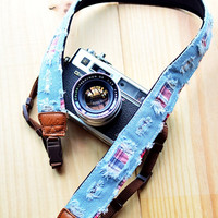 Checked Denim Camera Strap suits for DSLR / SLR with Quick Release Buckles