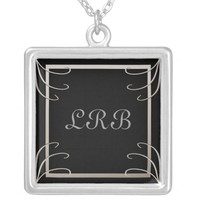 Elegant Three Initial Black-Silver Swirl Custom Necklace