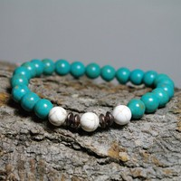 Blue Green and White Magnesite Gemstone Meditation Stretch Bracelet