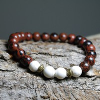 "Mahogany Energy - Meditation Beaded 8"" Stretch Bracelet"