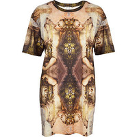 CREAM CUPID PRINT OVERSIZED T-SHIRT