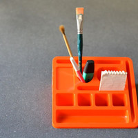 Vintage desk organizer neon orange yellow 80s office school home pens pencils