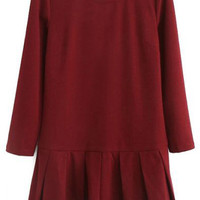 ROMWE | ROMWE Pleated Sheer Burgundy Dress, The Latest Street Fashion