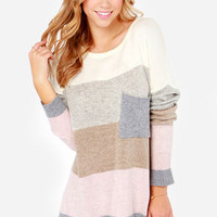 Hot Cocoa Grey and Pink Striped Sweater