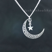 Moon necklace,charm necklace,retro silver star and crescent moon necklace---N025