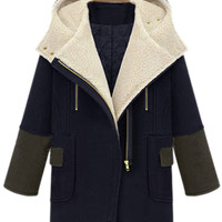 ROMWE | ROMWE Panel Color Block Zippered Hooded Blue Coat, The Latest Street Fashion