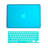 TopCase 2-in-1 Rubberized Hard Case and Keyboard Cover for Macbook White 13-Inch - A1342/Latest - with TopCase Mouse Pad - Aqua Blue