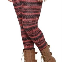 Plus Size Legging with Coral and Black Tribal Print