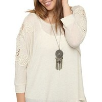 Plus Size High Low Raglan Top with Crochet Shoulders