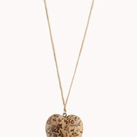 Floral Wooden Heart Necklace