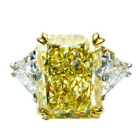 20.03ct Fancy Intense Yellow Internally Flawless Radiant Diamond Ring