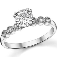 Moissanite Bezel Milgrain Engagement Ring (0.1ct) [eng139] - $285.00 : MoissaniteCo.com, Fine Moissanite Rings and Moissanite Jewelry