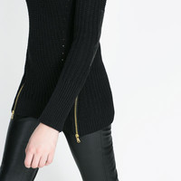 LONG SWEATER WITH ELBOW PATCHES