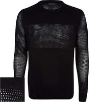 BLACK MESH PANEL SWEATER