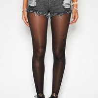 Destructed Black High-Waist Short