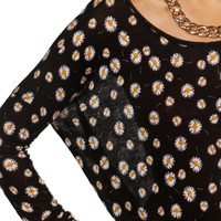 Pre-Order: Black/White Daisy Oversized Dolman Top
