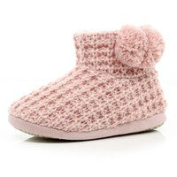 PINK CHUNKY LUREX KNIT SLIPPER BOOTS