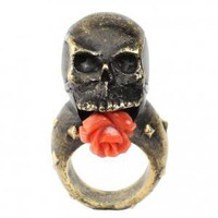 Skull studded rose ring | Leila Kashanipour