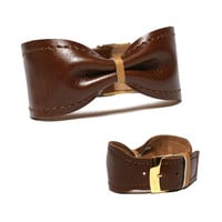 Leather bow bracelet cuff bangle - adjustable modern leather jewelry stylish unique gift for women