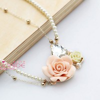 Korean Style Gold Plated Alloy Pearl Chian Crystal Resin Flower Choker Necklace