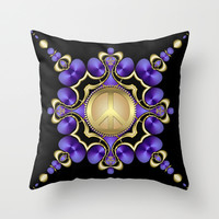 Purple Satin Golden Peace Throw Pillow by Webgrrl