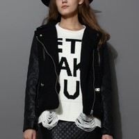 Zip Faux Leather Sleeves Jacket