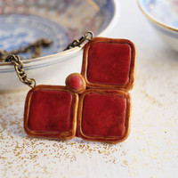 Geometric Rustic Necklace Red and Gold Triangular Pendant