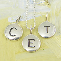 Mother's Necklace with Initials - Sterling Silver Personalized Jewelry for Mom with 18 inch Sterling Silver Chain