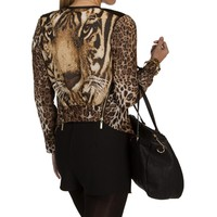 Brown Leopard Animal Print Jacket