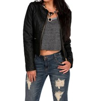 Black Quilted Faux Leather Moto Jacket