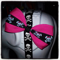 Hot Pink Base with Girlie Skull Center Stripe Hair Bow