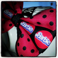 Barbie Girl: Hot Pink, Black Polka Dot with Black Center Stripe featuring Barbie Inspired Emblem