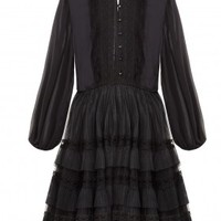 alice + olivia | SUZE PUFF SLEEVE TIERED LACE DRESS