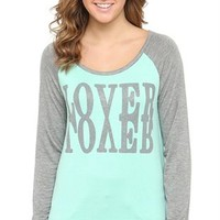 Three-Quarter Sleeve Raglan Top with Glitter Mirrored Lover Screen