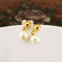 Pearl Bridal Earrings, Gold Ball Post Pearl Wedding Earrings, Bridesmaids Pearl Earrings