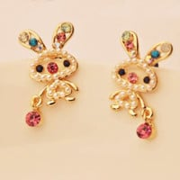 Naughty Bunnies Pearl And Rhinestone Earrings