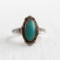 Vintage Sterling Silver Turquoise Blue Stone Ring - Retro Size 7 1/2 Native American Tribal Style Jewelry / Bell Trading Co.