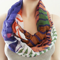 ON SALE Colorful Infinity Scarf - Elegant Fashion Chevron Circle Viscose Scarf Shawl Cowl for Women Teens