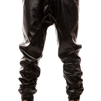 The Rich Drop Crotch Jogger (Black Perforated Leather)