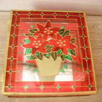 vintage Poinsettia Stain glass Mirrored box
