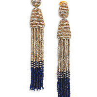 Beaded Clip-On Tassel Earrings