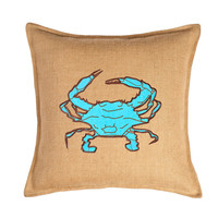 Crab 20x20 Burlap Pillow, Blue