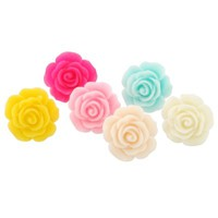 YARUIE Pack of 6 Pairs Rose Ear Stud Earrings Bulk Multicolor