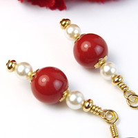 Red White Pearl Earrings Swarovski Gold Tone Handmade Beaded Jewelry
