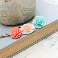 Flower Bobby Pins Rose Hair Accessories Mint Rose Hair Clip Coral Chrysanthemum Floral Hair slides Set of Three (3)