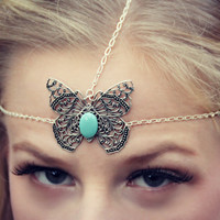 silver butterfly chain head piece, bridal headband, chain headband, butterfly headband, metal headband, unique headband