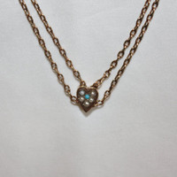 Rose Gold Victorian Slide Necklace Turquoise Seed Pearl Watch Chain 1910s Jewelry Art Deco