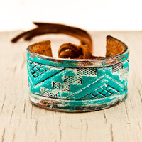 Turquoise Cuffs Cyber Monday Tribal Geometric Bracelets Turquoise Native Wristbands Southwest Jewelry OOAK Hanukah On Sale