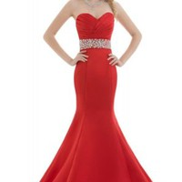 GEORGE BRIDE Red Satin Sweetheart Mermaid with Beadings Evening Dress