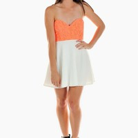 Orange Lace Sweetheart Dress with White Skater Skirt